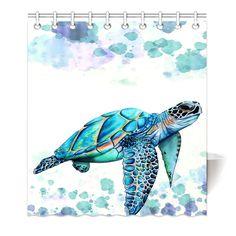 Buy x Shower Curtain With Hooks Bathroom Anti-Bacterial Waterproof Comfortable Sea Turtle at Wish - Shopping Made Fun Watercolor Sea, Watercolor Animals, Watercolor Paintings, Sea Turtle Painting, Sea Turtle Art, Sea Turtles, Turtle Tattoo Designs, Pallet Art, Animal Paintings