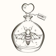 Hand drawn engraving Sketch of Bee in the bottle vector art illustration Pencil Art Drawings, Art Drawings Sketches, Tattoo Sketches, Tattoo Drawings, Tattoo Art, Flash Art Tattoos, Bottle Drawing, Bee Images, Bottle Tattoo