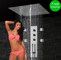 Massage Body Jets Shower Panel Bath Thermostatic Mixing Valve Shower Faucet Set Waterfall Rain Bubble LED Ceiling Shower Head