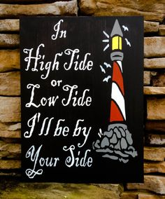 lighthouse sign, in high tide or low tide, hand painted wood sign, coastal decor nautical theme perfect beach wedding gift, seaside cottage
