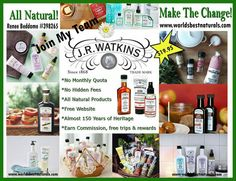 Home Based Business Opportunity with JR Watkins - work from home. Sign up at www.worldsbestnaturals.com
