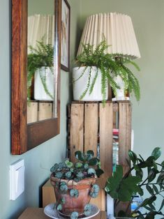 Green and cozy guestroom. Cozy House, Guest Room, Planter Pots, Green, Home, Cosy House, Ad Home, Homes, Guest Rooms