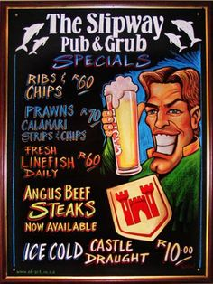 The Slipway Pub & Grub Angus Beef, Calamari, Beef Steak, Grubs, Chalk Art, Comic Books, Octopus, Comic Book, Comics
