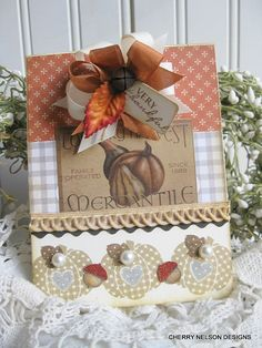 vintage fall card-PUMPKIN and GOURDS country harvest handmade card