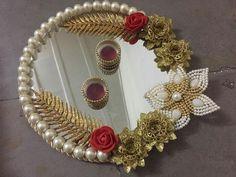 Thali Decoration Ideas, Diy Diwali Decorations, Indian Wedding Decorations, Festival Decorations, Diwali Diy, Diwali Craft, Engagement Ring Platter, Indian Wedding Gifts, Rakhi Design