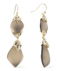 image of Crystal Lace Dangle Drop Warm Grey Lucite Earrings