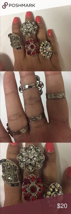Lot of rings. one size. Opens up.  4 rings Lot of rings. one size. Opens up.  4 rings Jewelry Rings