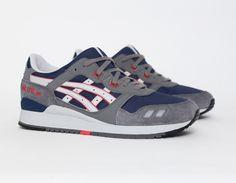 #Asics Gel Lyte III Grey Navy Red #Sneakers