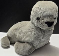 "Fiesta Plush Seal Stuffed Animal 1991 Vintage 13"" Grey Gray #7420G  unisex…"