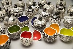 """Susan Bach pottery. Love the """"zentangle"""" style on the outside with a pop of color on the inside!"""