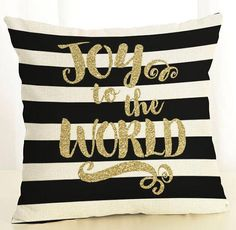 Joy to The world. LUXURIOUS Christmas throw pillow covers, Cushion/Pillow Cover 17 x 17 Inch