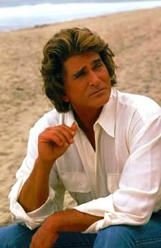 "Michael Landon on the set of ""Highway to Heaven,"" as Angel: Jonathan Smith"