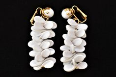 """60s White Boho Beaded Cluster Statement Dangle Earrings Clip On Marked Hong Kong Mid Century Retro Costume Jewelry 2"""" by DecoOwl on Etsy"""