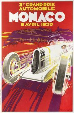 A '2me Grand Prix Automobile Monaco 6 Avril 1930' advertising poster by Falcucci