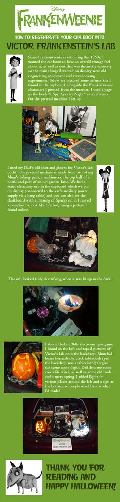 An extensive guide on how to turn your car boot into Victor's lab for Trunk'n'Treat. Frankenweenie