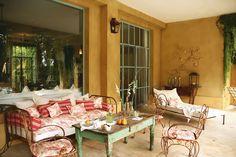 Brabourne Farm: The Great Outdoors Exterior Colonial, Interior And Exterior, Distressed Decor, Porch Veranda, Outdoor Spaces, Outdoor Decor, Indoor Outdoor, Outside Patio, Decks And Porches