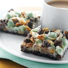 Get Scrumptious Chocolate Mint Layer Bars (Sponsored) Recipe from Cooking Channel Just Desserts, Delicious Desserts, Dessert Recipes, Yummy Food, Awesome Desserts, Bar Recipes, Brownie Recipes, Sweet Recipes, Recipies