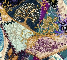 I ❤ crazy quilting . Crazy Quilt by Robyne Melia is Bobby La Crazy Quilting, Crazy Quilt Stitches, Crazy Quilt Blocks, Crazy Patchwork, Ribbon Embroidery, Embroidery Stitches, Embroidery Designs, Embroidery Sampler, Textiles