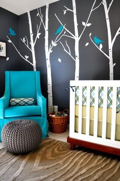 blue chair and white trees on dark wall. i would do this even in a regular room, not just a nursery. Woodsy Nursery, Nursery Grey, Nursery Room, Cool Wall Art, Cool Rooms, My New Room, My Dream Home, Decoration, Kids Bedroom