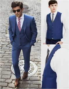 three piece suit blue suit wedding