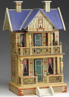 Gorgeous Blue Roof Dollhouse by Gottschalk, great color detail.  .....Rick Maccione-Dollhouse Builder www.dollhousemansions.com