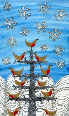 Becky Crawford. Illustrated Christmas Card. Hares, snowflakes, reindeer, robins, bluebirds, tree, mistletoe, kiss, winter scene, collage, line drawing, print, mixed media. https://www.etsy.com/uk/listing/85581610/large-christmas-cards-variety-pack-of-5?ref=shop_home_active