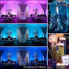 wedding reception: lighting & draping in purple / teal / blue (peacock colors)