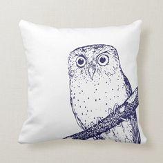 Shop Navy Blue Vintage Owl & Polka Dots Throw Pillow created by jenniferstuartdesign. Navy Blue Throw Pillows, Owl Illustration, Owl Pillow, Vintage Owl, Decorative Cushions, Dark Teal, Art Pieces, Polka Dots, Pattern