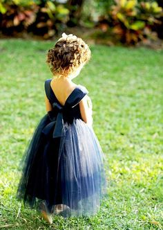 Honestly can't get cuter than the flower girls! Sorry ladies, you might have a little young girl stealing your wedding thunder after all! If I could, I would get as many flower girls I. Tulle Tutu, Tulle Dress, Navy Dress, Satin Tulle, Dress Black, Tutu Dresses, Fall Dresses, Long Dresses, White Dress