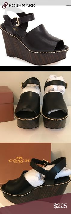 NWT Coach Harla Black Wedges NWT Coach Harla Black Wedges in Size 8.  Comes with box. Coach Shoes Wedges