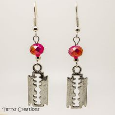Silver Razor Blade Earrings With Red AB Faceted Crystals Goth Emo Horror  B497