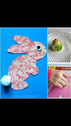 Brussels Sprouts Stamping Painting to look like a bunny 🐰