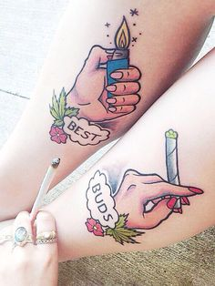 "lamaswithpot: we love our new tattoos THAT'S CRAZY! love these tattoos inspired by my ""best buds"" illustration!"