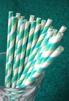 These blue and green paper straws.