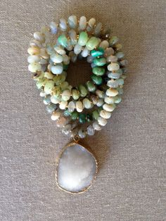 Long Gradient Opal Beaded Necklace with Large White Druzy Pendant by Goldenstrand Jewelry DIY Druzy Jewelry, Boho Jewelry, Jewelry Crafts, Jewelry Art, Beaded Jewelry, Jewelery, Jewelry Accessories, Handmade Jewelry, Jewelry Necklaces