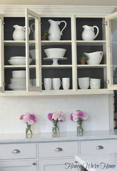 Honey We're Home: Painted Kitchen Cabinets inside. Urbane Bronze from Sherwin W… Honey We're Home: Painted Kitchen Cabinets inside. Urbane Bronze from Sherwin Williams.