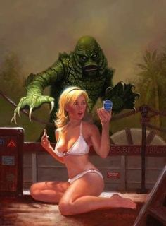 Creature from the black lagoon horror pin up Bd Comics, Horror Comics, Monster Art, Arte Horror, Horror Art, Sexy Horror, Pulp Fiction, Science Fiction, Sexy Cartoons