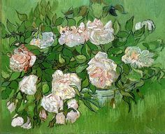 "lonequixote: "" Still Life, Pink Roses by Vincent van Gogh """