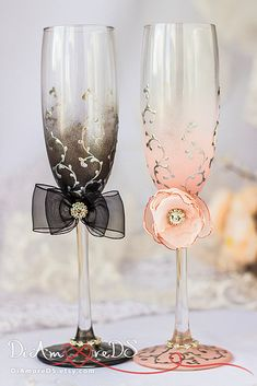 Bride and groom wedding toasting glasses black & by DiAmoreDS