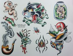 Pipe is sickkk Miscellaneous I Neo-Traditional Tattoo Flash Sheet. $10.00, via Etsy.