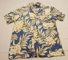 a34b21892 Polo Ralph Lauren L large men Floral Tropical Hawaiian Button Down Shirt  blue
