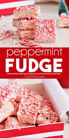 Cooked in the microwave, this easy Peppermint Fudge is a sweet addition to any holiday gathering. Perfect when you need a quick treat for a party, cookie tray or neighbor gifts. Fudge Recipes, Candy Recipes, Holiday Recipes, Cookie Recipes, Snack Recipes, Dessert Recipes, Holiday Treats, Winter Recipes, Christmas Recipes