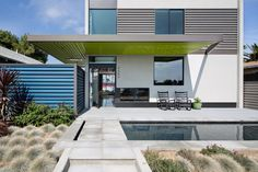 Entrance and reflecting pool at a renovated San Diego house