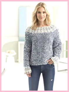 Knit this cozy pullover with new Color Clouds! Free knit pattern calls for 10 - 13 balls of yarn (pictured in smoky grey and ice storm) and size 17 circular knitting needles. - Crochet and Knit Fall Knitting, Sweater Knitting Patterns, Knit Patterns, Knitting Sweaters, Free Knitting Patterns For Women, Knitting Needles, Knitting Machine, Pulls, Knit Crochet