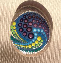 Dot Art Mandala Painted Stone - Adriatic /Gift / Decoration / Painted rock art Beachstone Dot Stone Mandala Stone