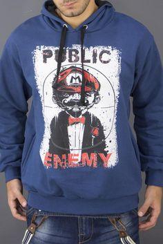 Ανδρικό φούτερ Mario FOUT-1204-bl Hoodies, Sweatshirts, Mario, Graphic Sweatshirt, Sport, Sweaters, Fashion, Moda, Deporte