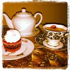 Enjoying a cup of tea!