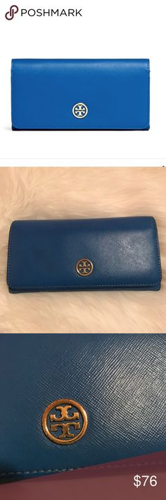 Tory Burch Robinson Envelope Wallet Authentic Tory wallet in royal blue with gold hardware. Made of saffiano leather. Some wear to emblem, corner, and inside the coin pocket as shown in pictures. Questions and offers welcome. No trades! Tory Burch Bags Wallets