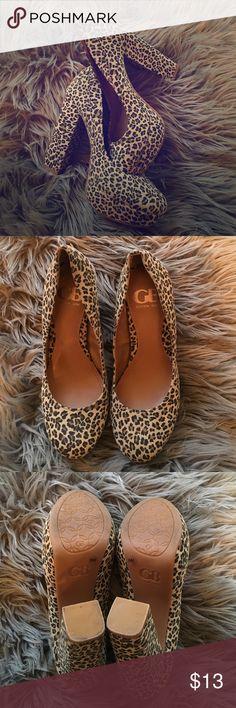 Leopard Print Chunky Heels Super cute worn once! By Gianni Bini! Gianni Bini Shoes Platforms