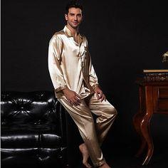 bdd0a9141d NWT 2PCS Mens Silk Satin Pajamas Sleepwear Pyjamas PJS Long Sleeve M009 M  L. Thomas Rehse · Seide